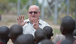 Brother Bill Firman, a De La Salle Christian brother from Australia, talks to children at the Loreto Primary School in Rumbek, South Sudan. The school is run by the Institute for the Blessed Virgin Mary--the Loreto Sisters--of Ireland. Firman is chair of the school's board of directors.