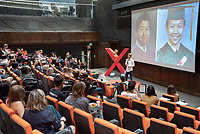 "Dean Lin '19 talks about ""The Way We Define Ourselves.""<br /> Occidental College hosts TEDxOccidentalCollege on April 21, 2018 in Choi Auditorium of Johnson Hall. Students, faculty, alums and guest speakers delivered their TEDx Talk on the theme, Shifting Ecosystems of Power.<br /> (Photo by Marc Campos, Occidental College Photographer)"