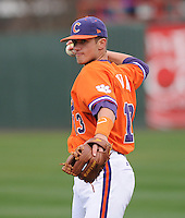 Third baseman Jay Baum (13) of the Clemson Tigers prior to a game against the South Carolina Gamecocks on Saturday, March 2, 2013, at Fluor Field at the West End in Greenville, South Carolina. Clemson won the Reedy River Rivalry game 6-3. (Tom Priddy/Four Seam Images)