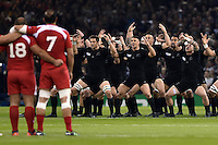 The New Zealand team perform their pre-match haka. Rugby World Cup Pool C match between New Zealand and Georgia on October 2, 2015 at the Millennium Stadium in Cardiff, Wales. Photo by: Patrick Khachfe / Onside Images