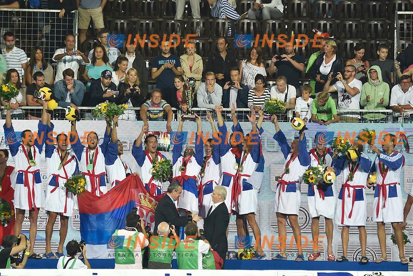 SERBIA European Champion <br /> LEN European Water Polo Championships 2014<br /> Alfred Hajos Swimming Complex<br /> Margitsziget - Margaret Island<br /> Day14 - July 27<br /> Photo A.Staccioli/Insidefoto/
