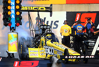 Oct 5, 2013; Mohnton, PA, USA; NHRA top fuel dragster driver Morgan Lucas during qualifying for the Auto Plus Nationals at Maple Grove Raceway. Mandatory Credit: Mark J. Rebilas-