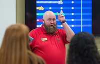 NWA Democrat-Gazette/BEN GOFF @NWABENGOFF<br /> Grant Wilson, emergency medical services clinical coordinator, talks to a group of Rogers High students Friday, Jan. 11, 2019, at Northwest Arkansas Community College in Bentonville. About 120 9th-12th grade students from medical professions classes at Rogers High School visited the community college for tours of the health professions building. The field trip was organized by teacher Marty Allen to help the students learn about education and career opportunities in healthcare.