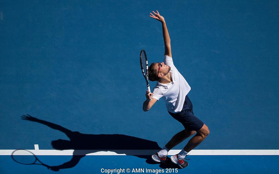 Jerzy Janowicz (POL)<br /> <br /> Tennis - Australian Open 2015 - Grand Slam -  Melbourne Park - Melbourne - Victoria - Australia  - 24 January 2015. <br /> &copy; AMN IMAGES