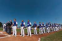 20 August 2010: Team France stands during the national anthem prior to France 6-5 win over Italy, at the 2010 European Championship, under 21, in Brno, Czech Republic.