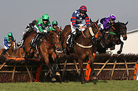 "The field in jumping action during the Call Star Sports On 08000 521321 ""National Hunt"" Novices Hurdle"