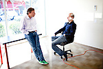 Udacity vice president of education Professor Dave Evans, left, and co-founder Professor Sebastian Thrun, right, meet in their Palo Alto, Calif. office, February 24, 2012.