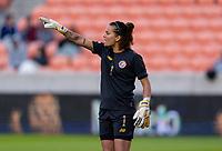 HOUSTON, TX - JANUARY 31: Noelia Bermudez #1 of Costa Rica yells to her team during a game between Haiti and Costa Rica at BBVA Stadium on January 31, 2020 in Houston, Texas.