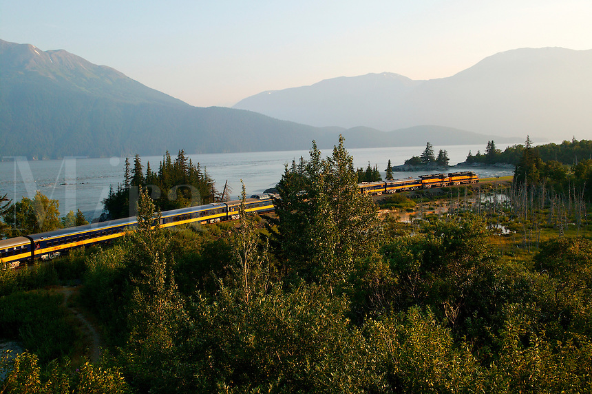 The Alaska Railroad travels along Turnagain Arm, Alaska...July 13, 2004 Porcaro / Alaska Railroad assignment