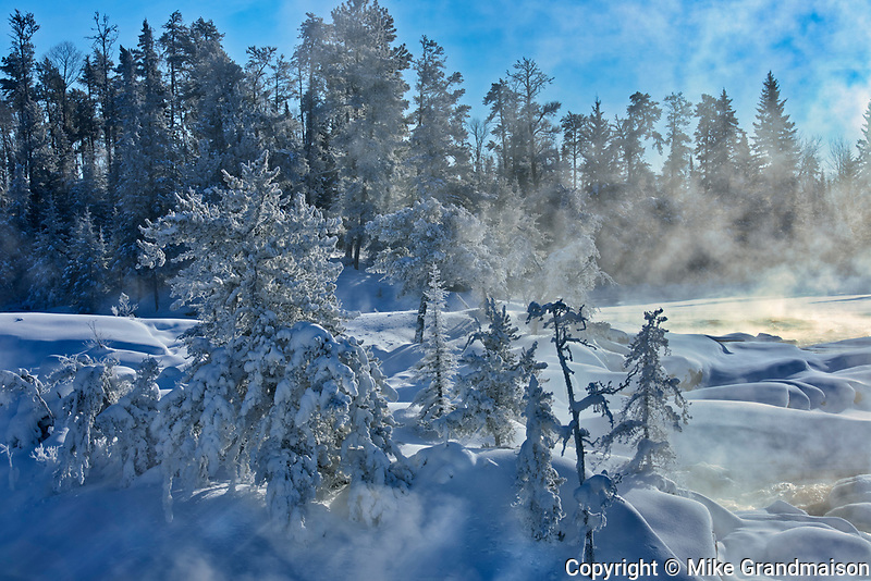 Fog and hoarfrost on trees at edge of the Wabigoon River<br />