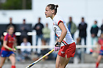 Mannheim, Germany, April 18: During the 1. Bundesliga Damen match between TSV Mannheim (white) and Mannheimer HC (red) on April 18, 2015 at TSV Mannheim in Mannheim, Germany. Final score 1-7 (1-4). (Photo by Dirk Markgraf / www.265-images.com) *** Local caption *** Laura Keibel #17 of TSV Mannheim