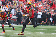 College Park, MD - October 1, 2016: Maryland Terrapins running back Ty Johnson (6) runs in for a touchdown during game between Purdue and Maryland at  Capital One Field at Maryland Stadium in College Park, MD.  (Photo by Elliott Brown/Media Images International)