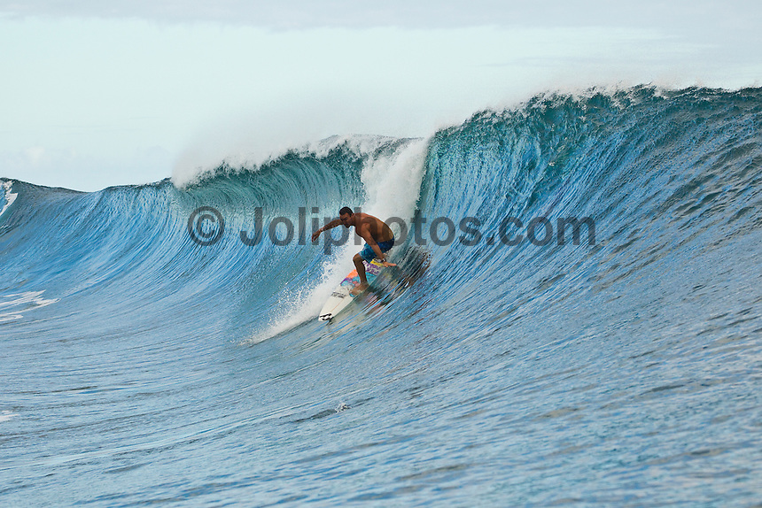 Teahupoo, Tahiti Iti, French Polynesia. Thursday August 17 2011. Joel Parkinson (AUS).  A south  west swell was hitting the main reef today with clean open barrels in the six foot range. Photo: joliphotos.com