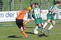 VOETBAL: JOURE: Sportpark de Hege Simmerdyk, 20-04-2013, Amateurvoetbal 2012-2013, SC Joure zat. afd. - VV Oudehaske, Gerrit Marten Jansen (#13) Anton Jellema (#4) Durk Horjus (#7) Fedde Regts (#1), Eindstand 1-1, ©foto Martin de Jong