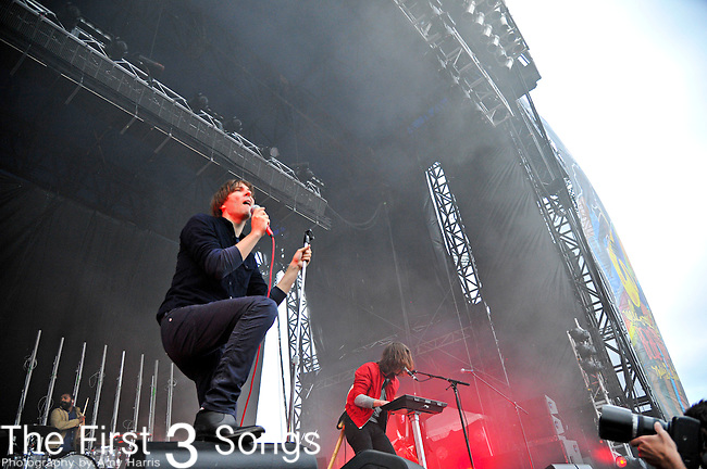 Thomas Mars of Phoenix performs during the The Beale Street Music Festival in Memphis, Tennessee.
