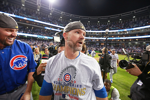 02.11.2016. Cleveland, OH, USA.  Chicago Cubs starting pitcher John Lackey (41) celebrates with teammate catcher David Ross (3) after winning game 7 of the 2016 World Series against the Chicago Cubs and the Cleveland Indians at Progressive Field in Cleveland, OH. Chicago defeated Cleveland 8-7 in 10 innings.