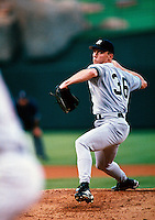 David Cone of the New York Yankees plays in a baseball game at Edison International Field during the 1998 season in Anaheim, California. (Larry Goren/Four Seam Images)