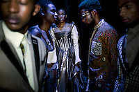 SOWETO, SOUTH AFRICA MAY 29: Models for the designer Inventive Fashion by Zamaswazi wait backstage before a fashion show at Soweto Fashion Week on May 29, 2014 at the Soweto Theatre in the Jabulani section of Soweto, South Africa. Local emerging designers showed their collections during the three-day event held at the theatre. Founded in 2012, Soweto fashion week gives a platform to local designers, models and artists. (Photo by: Per-Anders Pettersson)
