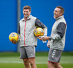 14.08.2019 Rangers training: Steven Gerrard and Tom Culshaw laughing at training