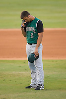 Starting pitcher Madison Bumgarner (5) of the Augusta GreenJackets collects his thoughts at the start of an inning at Fieldcrest Cannon Stadium in Kannapolis, NC, Wednesday August 21, 2008. (Photo by Brian Westerholt / Four Seam Images)