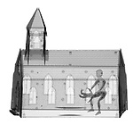 X-ray image of church abuse (black on white) by Jim Wehtje, specialist in x-ray art and design images.
