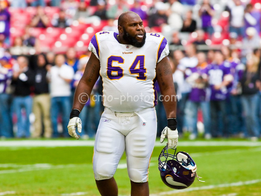 Dec 14, 2008; Glendale, AZ, USA; Minnesota Vikings offensive guard Anthony Herrera (64) prior to a game against the Arizona Cardinals at University of Phoenix Stadium.  The Vikings won the game 35-14.