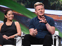 BEVERLY HILLS - JULY 23: (L-R) Freediver & Spearfisher Kimi Werner and Chef Gordon Ramsay onstage during the GORDON RAMSAY: UNCHARTED panel at the National Geographic portion of the Summer 2019 TCA Press Tour at the Beverly Hilton on July 23, 2019 in Los Angeles, California. (Photo by Frank Micelotta/National Geographic/PictureGroup)