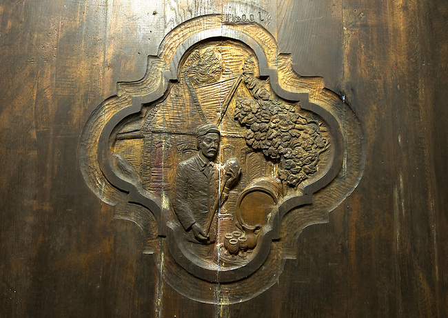 Carving on the end of a wine barrel, Hajos (Hajós) Hungary