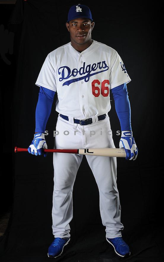 LA Dodgers Yasiel Puig (66) at media photo day on February 17, 2013 during spring training in Glendale, AZ.