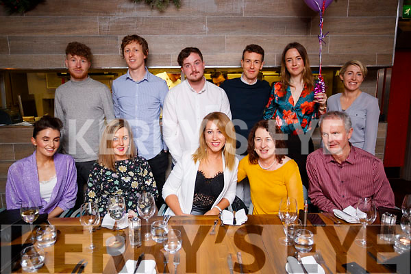 Niamh Kinsella, Tralee, who celebrated her 30th birthday at No. 4 The Square, Tralee, Saturday night last, front l-r: Ashleigh Reynolds, Emer Clifford, Eilis Callaghan and Jeffrey Childs. Back l-r: Noel Kinsella, Ciarán Kinsella, Nathan Murphy, Keith Kinsella, Ann Faherty and Sharon Kinsella.