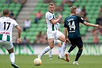 GRONINGEN - Voetbal, FC Groningen - Werder Bremen, voorbereiding seizoen 2018-2019, 29-07-2018, FC Groningen speler Samir Memisevic met Ole Kauper