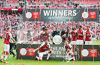 Arsenal players celebrating after the The FA Community Shield Final match between Arsenal and Chelsea at Wembley Stadium, London, England on 6 August 2017. Photo by Andrew Aleksiejczuk / PRiME Media Images.