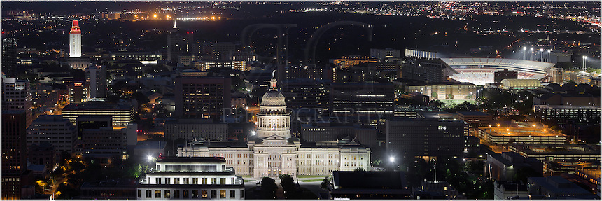 The Texas State Capitol is flanked by the UT Tower and University of Texas football stadium in this panorama looking north. I shot the photos used in this pano from the top of the Austonian. Thanks for allowing me this opportunity!