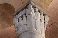 Capital depicting Saint Genevieve's life (Sainte Geneviève), designed by Madeleine Froidevaux-Flandrin in a Neo-Romanesque style, 20th century, Nanterre Cathedral (Cathédrale Sainte-Geneviève-et-Saint-Maurice de Nanterre), 1924 - 1937, by architects Georges Pradelle and Yves-Marie Froidevaux, Nanterre, Hauts-de-Seine, France. Picture by Manuel Cohen