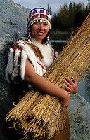 Portrait of A Native Alaskan Alutiq woman in a traditional beaded dress. Alaska.