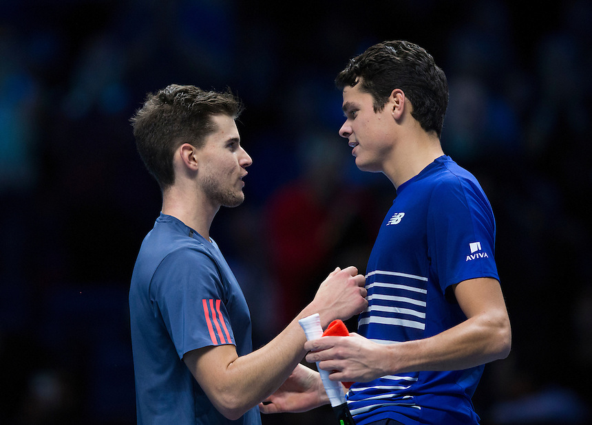 Milos Raonic of Canada is congratulated on his victory by Dominic Thiem of Austria after their Group Ivan Lendl match today<br /> <br /> Photographer Craig Mercer/CameraSport<br /> <br /> International Tennis - Barclays ATP World Tour Finals - Day 5 - Thursday 17th November 2016 - O2 Arena - London<br /> <br /> World Copyright &copy; 2016 CameraSport. All rights reserved. 43 Linden Ave. Countesthorpe. Leicester. England. LE8 5PG - Tel: +44 (0) 116 277 4147 - admin@camerasport.com - www.camerasport.com