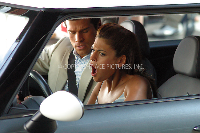 "Eva Mendes on the set of ""Last First Kiss"" in New York, June 30, 2004. Please byline: BRIAN FLANNERY/ACE Pictures.   ..  *** ***..All Celebrity Entertainment, Inc:  ..contact: Alecsey Boldeskul (646) 267-6913 ..Philip Vaughan (646) 769-0430..e-mail: info@nyphotopress.com"