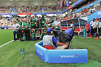 20190624 - REIMS , FRANCE : illustration picture shows the photographers waiting for the entry of the players before the female soccer game between Spain and USA , a knock out game in the round of 16 during the FIFA Women's  World Championship in France 2019, Monday 24 th June 2019 at the Stade Auguste Delaune Stadium in Reims , France .  PHOTO SPORTPIX.BE | DIRK VUYLSTEKE