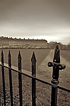 Roadside iron railings outside by the Royal Crescent in Bath, Somerset, England.