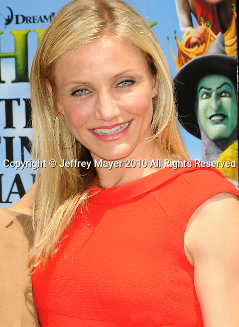 "UNIVERSAL CITY, CA. - May 16: Cameron Diaz arrives at the ""Shrek Forever After"" Los Angeles Premiere at Gibson Amphitheatre on May 16, 2010 in Universal City, California."