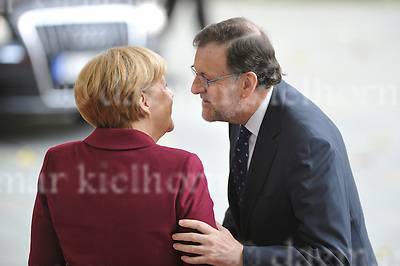 Nov.18-16 Chancellery,Berlin,Germany<br /> Spanish MP Mariano Rajoy is<br /> welcomed by the German Chancellor Angela Merkel