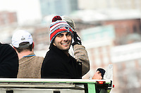 February 4, 2015 - Boston, Massachusetts, U.S. - New England Patriots quarterback Jimmy Garoppolo (10) rides on a duck boat during a parade held in Boston to celebrate the team's victory over the Seattle Seahawks in Super Bowl XLIX. Eric Canha/CSM