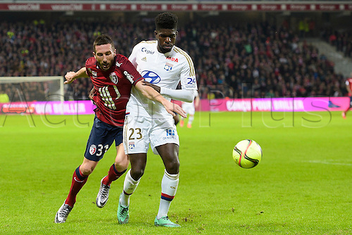 21.02.2016. Lille, France. French League 1 football. Lille versus Lyon.  AMALFITANO Morgan (Losc) challenged by UMTITI Samuel (Lyon)