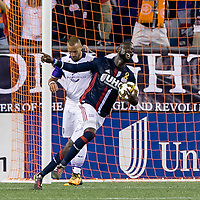 Foxborough, Massachusetts - September 2, 2017: In a Major League Soccer (MLS) match, New England Revolution (blue/white) defeated Orlando City SC (white), 4-0, at Gillette Stadium.Kei Kamara celebrates third goal.