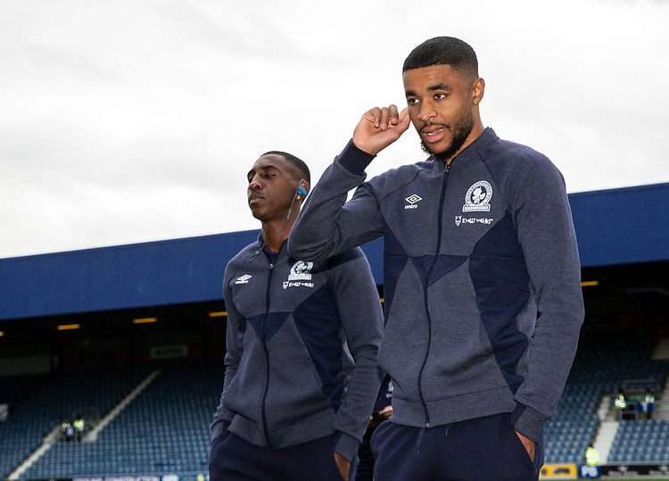 Blackburn Rovers' Amari'i Bell (left) and Dominic Samuel pictured before the match <br /> <br /> Photographer Andrew Kearns/CameraSport<br /> <br /> The EFL Sky Bet Championship - Queens Park Rangers v Blackburn Rovers - Saturday 5th October 2019 - Loftus Road - London<br /> <br /> World Copyright © 2019 CameraSport. All rights reserved. 43 Linden Ave. Countesthorpe. Leicester. England. LE8 5PG - Tel: +44 (0) 116 277 4147 - admin@camerasport.com - www.camerasport.com