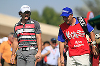 Rory McIlroy (NIR) and caddy J.P.Fitzgerald on the 1st tee during Sunday's Final Round of the HSBC Golf Championship at the Abu Dhabi Golf Club, United Arab Emirates, 29th January 2012 (Photo Eoin Clarke/www.golffile.ie)