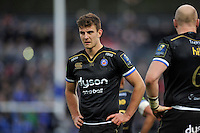 Ollie Devoto of Bath Rugby looks on during a break in play. European Rugby Champions Cup match, between Bath Rugby and Leinster Rugby on November 21, 2015 at the Recreation Ground in Bath, England. Photo by: Patrick Khachfe / Onside Images