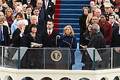 Vice President Mike Pence takes the Oath of Office from Justice Clarance Thomas at the inauguration on January 20, 2017 in Washington, D.C.  Trump became the 45th President of the United States.     <br /> Credit: Pat Benic / Pool via CNP