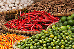 Chillies 01 - Baskets of chillies, limes, garlic and ginger, Nguyen Thien Thuat St, near Cho Dong Xuan market, Hanoi Old Quarter, Vietnam