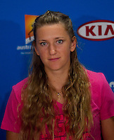 VICTORIA AZARENKA press conference after winning the Wmen's Singles Final..29/01/2012, 29th January 2012, 29.01.2012 - Day 14..The Australian Open, Melbourne Park, Melbourne,Victoria, Australia.@AMN IMAGES, Frey, Advantage Media Network, 30, Cleveland Street, London, W1T 4JD .Tel - +44 208 947 0100..email - mfrey@advantagemedianet.com..www.amnimages.photoshelter.com.